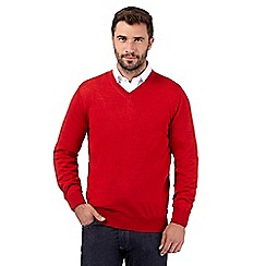 J by Jasper Conran - Big and tall designer red merino wool v neck jumper
