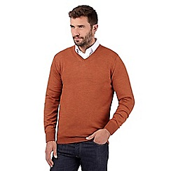 J by Jasper Conran - Big and tall designer orange merino wool v neck jumper