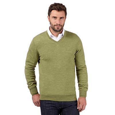 J by Jasper Conran Designer light green merino wool V neck
