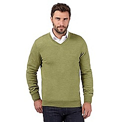 J by Jasper Conran - Big and tall designer light green merino wool v neck jumper
