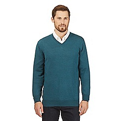 J by Jasper Conran - Big and tall turquoise merino wool v neck jumper