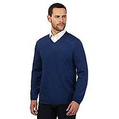 J by Jasper Conran - Big and tall designer mid blue merino wool v neck jumper