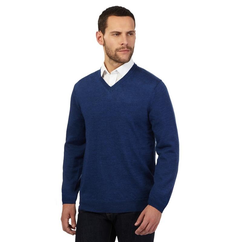 J by Jasper Conran Designer Mid Blue Merino Wool V Neck