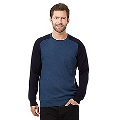 J by Jasper Conran - Big and tall blue colour block jumper