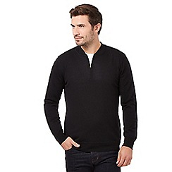 J by Jasper Conran - Big and tall black merino half zip neck jumper