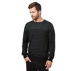 J by Jasper Conran - Big and tall dark green merino striped jumper