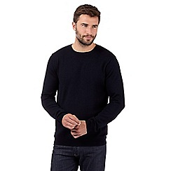 J by Jasper Conran - Big and tall designer navy merino wool crew neck jumper