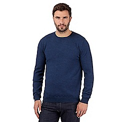 J by Jasper Conran - Big and tall designer dark blue merino wool crew neck jumper