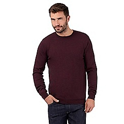 J by Jasper Conran - Big and tall designer maroon merino wool crew neck jumper
