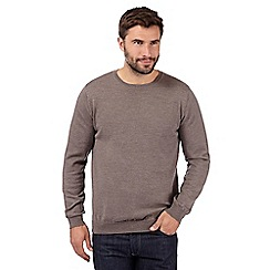 J by Jasper Conran - Big and tall designer taupe merino wool crew neck jumper