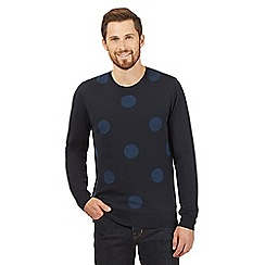 J by Jasper Conran - Big and tall blue polka dot knit jumper