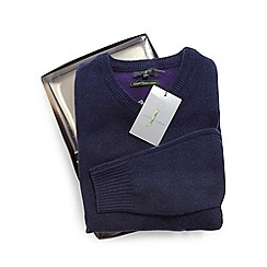J by Jasper Conran - Navy Merino wool and cashmere blend jumper in a gift box