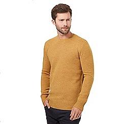 J by Jasper Conran - Big and tall dark yellow wool blend crew neck jumper