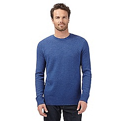 J by Jasper Conran - Big and tall designer mid blue lambswool blend v neck jumper