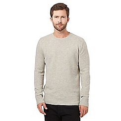J by Jasper Conran - Big and tall light grey wool blend crew neck jumper