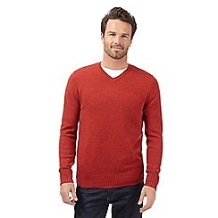 J by Jasper Conran - Big and tall designer red lambswool blend v neck jumper