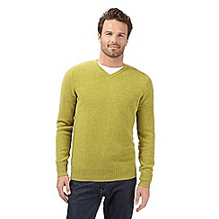 J by Jasper Conran - Big and tall designer lime lambswool blend v neck jumper