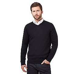 J by Jasper Conran - Navy wool blend V neck jumper