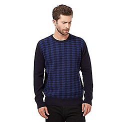 J by Jasper Conran - Big and tall blue dogtooth checked jumper