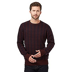 J by Jasper Conran - Big and tall brown dogtooth checked jumper