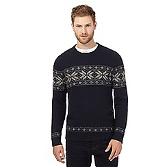 J by Jasper Conran - Big and tall navy fair isle knitted jumper