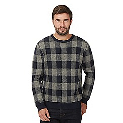 J by Jasper Conran - Navy Check Print Crew Neck Jumper