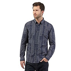 J by Jasper Conran - Big and tall navy patchwork print shirt