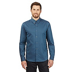J by Jasper Conran - Big and tall turquoise textured jacquard shirt