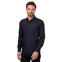 J by Jasper Conran - Big and tall navy jacquard long sleeved shirt