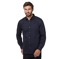 J by Jasper Conran - Big and tall navy gingham long sleeve shirt