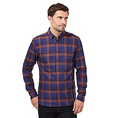 J by Jasper Conran - Big and tall dark blue highlighted check shirt