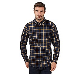 J by Jasper Conran - Big & Tall designer navy/mustard windowpane check long sleeve shirt