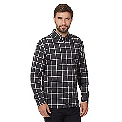 J by Jasper Conran - Big and tall dark grey ombre check print shirt