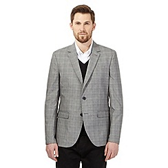 J by Jasper Conran - Big and tall grey textured pow check jacket