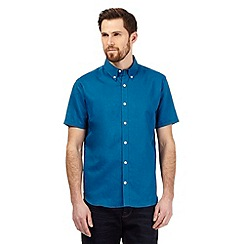 J by Jasper Conran - Big and tall dark turquoise linen blend shirt