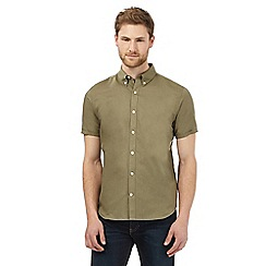 J by Jasper Conran - Big and tall khaki linen blend short sleeved shirt
