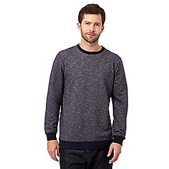 J by Jasper Conran - Big and tall navy textured crew neck sweater