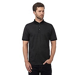 J by Jasper Conran - Big and tall black textured polka dot polo shirt