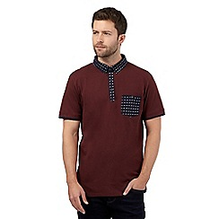 J by Jasper Conran - Big and tall dark red textured diamond pocket and collar polo shirt