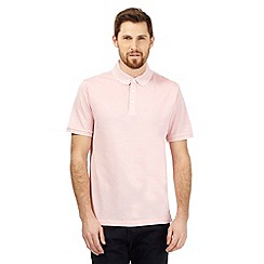 J by Jasper Conran - Big and tall pink birdseye textured polo shirt