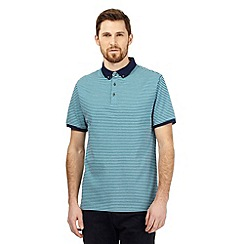 J by Jasper Conran - Turquoise fine striped textured polo shirt