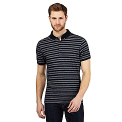 J by Jasper Conran - Navy dotted striped print polo shirt