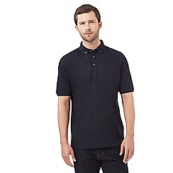 J by Jasper Conran - Big and tall navy textured panel polo shirt