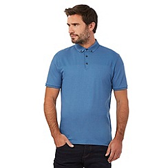 J by Jasper Conran - Big and tall blue popcorn textured yoke polo shirt
