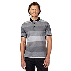 J by Jasper Conran - Black striped print polo shirt
