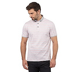 J by Jasper Conran - Grey and pink striped print polo shirt