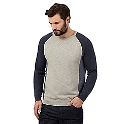 J by Jasper Conran - Big and tall grey colour block crew neck jumper