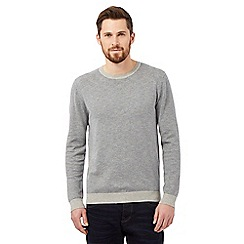 J by Jasper Conran - Big and tall grey striped crew neck jumper