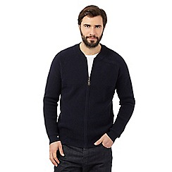 J by Jasper Conran - Big and tall navy ribbed baseball sweater