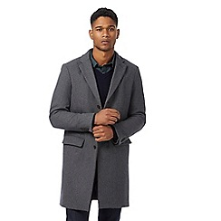 J by Jasper Conran - Grey wool blend herringbone textured overcoat
